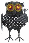 Noma/Inliten-Import V34253-88 Lighted Owl with Rake,  Battery-Operated,  4 Orange LED Lights