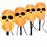 Noma/Inliten-Import V35090-88 Halloween Pathway Lights, Skull, 4-Pc. Set
