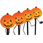 Noma/Inliten-Import V37131-88 Halloween Pathway Lights, Pumpkins, 4-Pc. Set