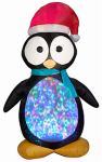 Gemmy Industries 87752 Christmas Lawn Decoration, Inflatable, Kaleidoscope Penguin, 7.5-Ft.