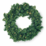 Gerson 2144380 Christmas Wreath, 30 Color-Changing LED Lights, Battery-Operated, 24-In.