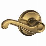 Schlage Lock F10V FLA 609 Passage Lockset, Flair Lever, Antique Brass, Fits 2-3/8 & 2-3/4-In. Backsets