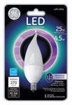 G E Lighting 68165 LED Light Bulb, Frosted, Candle Shape, Candelabra Base, 4.5-Watt