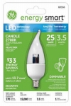 G E Lighting 68166 LED Dimmable Light Bulb, Clear, Candle Shape, Small Base, 3.5-Watt
