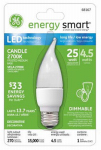 G E Lighting 68167 LED Light Bulb, Frosted, Candle Shape, Medium Base, 4.5-Watt