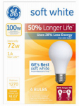 G E Lighting 70284 Soft White Halogen Bulb, Long Life, Medium Base, 72-Watt, 4-Pk.