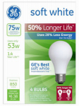 G E Lighting 70285 Soft White Halogen Bulb, Long Life, Medium Base, 53-Watt, 4-Pk.