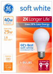 G E Lighting 70287 Soft White Halogen Bulb, Long Life, Medium Base, 29-Watt, 4-Pk.
