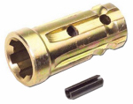 Double Hh Mfg 23253 PTO Adapter, Forged, Yellow Zinc-Plated, 1-1/8 x 1-3/8-In.