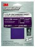 3M 9664SB-ES Sanding Sheets, Clip-On, 120-Grit, 4.5 x 5.5-In., 4-Pk.