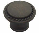 Brainerd Mfg Co/Liberty Hdw PN0293-OB-C Cabinet Knob, Roped Edge, Distressed Bronze, 1-1/8-In.