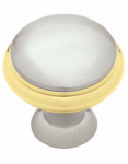 Brainerd Mfg Co/Liberty Hdw PN0335C-PBN-C Cabinet Knob, Polished Brass & Satin Nickel, 1-3/8-In.