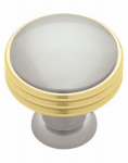Brainerd Mfg Co/Liberty Hdw PN1035C-PBN-C Cabinet Knob, Ringed, Polished Brass & Satin Nickel, 1-3/8-In.