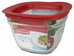 Rubbermaid 2856005 Food Storage Container, Square, Glass, 5.5-Cup