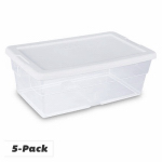 Sterilite 16438006 Storage Box Set, Clear, 6-Qt., 5-Pk.
