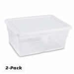 Sterilite 16458006 Storage Box Set, Clear, 16-Qt., 2-Pk.