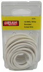 Uriah Products UA501220 Automotive Wire, Insulation, White, 12 AWG, 12-Ft.