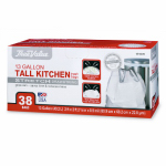 Berry Global 1200044 Tall Kitchen Trash Bags, 38-Ct. 13-Gal.