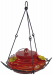 Natures Way Bird Products GHF3 Hummingbird Feeder, Red Swirl Glass