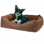 Hugfun Intl Hongkong 220246 Ergonomic Pet Bed, Brown/Tan, 40 x 30-In.