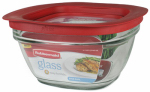 Rubbermaid 2856004 Food Storage Container, Glass, 4-Cup Square