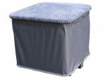 Zenithen Limited OC402SM-TV06 Collapsible Ottoman, Gray Corduroy, 20 x 20 x 18-In.