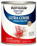 Rust-Oleum 1966-502 Painter's Touch Latex Paint, Apple Red Gloss, 1-Qt.