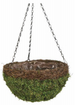 Panacea Products 83558 Hanging Basket, Natural Moss & Wicker, Green, 14-In.