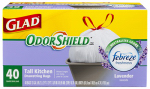 Clorox The 78459 Tall Kitchen Trash Bags, White, Odor Shield Lavender, 13-Gal., 40-Ct.