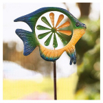 Panacea Products 87065 Spinner Lawn Ornament, Multi-Color Fish, 52 x 15.5-In.