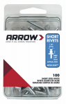 Arrow Fastener RSS1/8IP Rivets, Short, Steel, 1/8 x 1/8-In., 100-Ct.