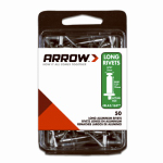 Arrow Fastener RLA3/16IP Rivets, Long, Aluminum, 3/16 x 1/2-In., 50-Ct.