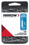 Arrow Fastener RLS1/8IP Rivets, Long, Steel, 1/8 x 1/2-In., 100-Ct.
