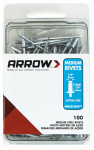 Arrow Fastener RMS1/8IP Rivets, Medium, Steel, 1/8 x 1/4-In., 100-Ct.