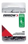 Arrow Fastener RSA1/8IP Rivets, Short, Aluminum, 1/8 x 1/8-In, 100-Ct.