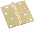 National Mfg/Spectrum Brands Hhi N830-213 Door Hinge, Interior, Square-Edge, Polished Brass, 4-In.
