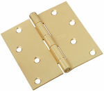 National Mfg/Spectrum Brands Hhi N830-231 Door Hinge, Interior, Square-Edge, Satin Brass, 4-In.
