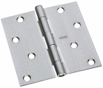 National Mfg/Spectrum Brands Hhi N830-240 Door Hinge, Interior, Square-Edge, Satin Chrome, 4-In.