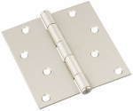 National Mfg/Spectrum Brands Hhi N830-249 Door Hinge, Interior, Square-Edge, Satin Nickel, 4-In.
