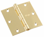 National Mfg/Spectrum Brands Hhi N830-214 Door Hinge, Interior, Square-Edge, Polished Brass, 3-In.