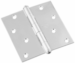 National Mfg/Spectrum Brands Hhi N830-276 Door Hinge, Interior, Square-Edge, Stainless Steel, 4-In.