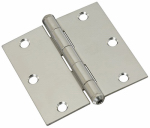 National Mfg/Spectrum Brands Hhi N830-277 Door Hinge, Interior, Square-Edge, Stainless Steel, 3-In.