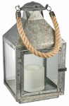 Northern International GL28672LGV Patio Lantern, Battery-Operated, Metal, Large