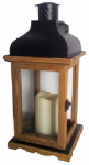Northern International GL28673LWD Patio Lantern, Battery-Operated, Brown Wood & Metal, 7 x 7 x 15-In.