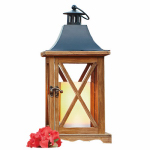Northern International GL28674SWD Patio Lantern, Battery-Operated, Brown Wood & Metal, 6.25 x 6.25 x 13.75-In.