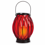Northern International GL29170RDWH Patio Lantern, Battery-Operated, Red Glass, 7.75 x 7.75 x 9.25-In.