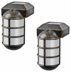 Sterno Home TV23877RB2 Solar Post Cap Light, Cast-Aluminum, 2-Pk.