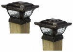 Sterno Home TV28998BK2 Solar Post Cap Light, Metal, 2-Pk.