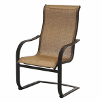 Patio Master ADH10019K01 Bellevue Patio Collection Spring Chair, Aluminum Frame, Brown Sling, Must Purchase in Quantities of 4