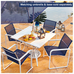 Patio Master S5-ADH05500 Hampton Patio Collection 5-Pc. Sled-Base Dining Set, Navy & White